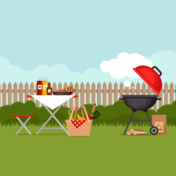 illustrations, cliparts, dessins animés et icônes de bbq partie de fond avec grill. affiche de barbecue. appartement de style, vector illustration. - barbecue