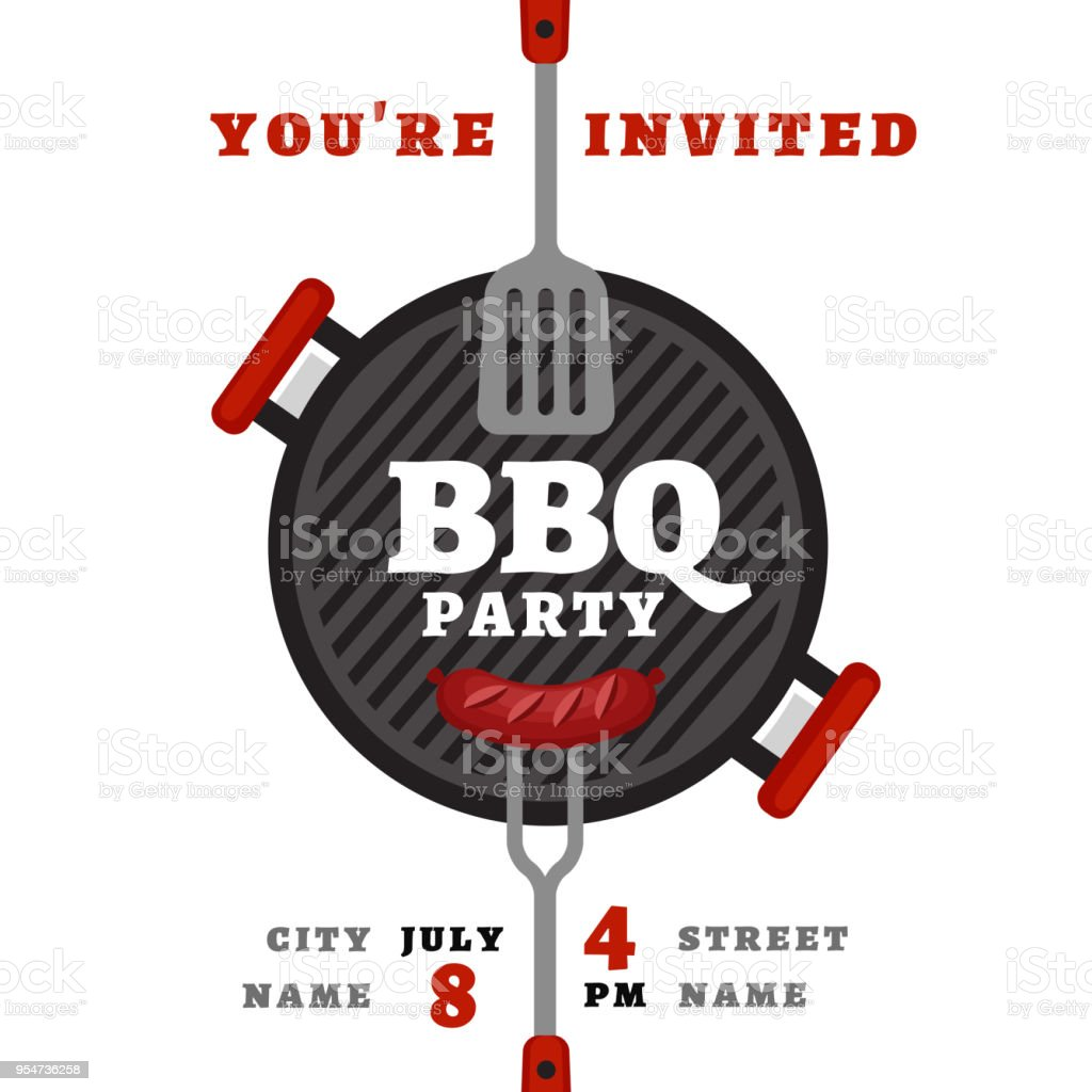 Bbq party background with grill. Barbecue poster. Flat style, vector illustration. vector art illustration