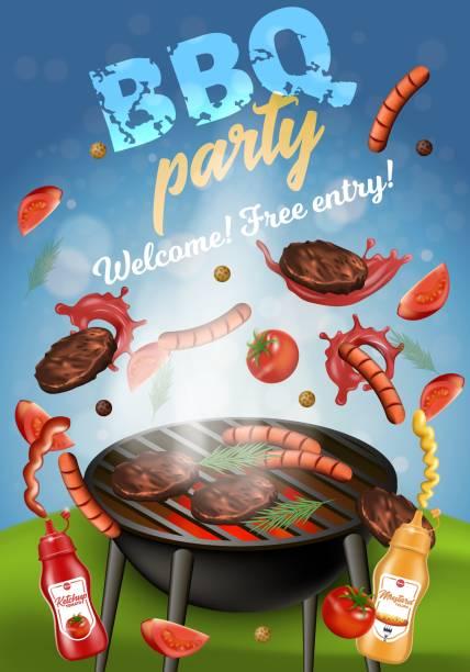 ilustrações de stock, clip art, desenhos animados e ícones de bbq party banner, grilling machine with meat. - cooker happy