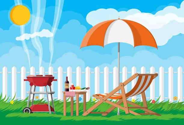 ilustraciones, imágenes clip art, dibujos animados e iconos de stock de concepto del partido del bbq - fiesta en el jardín