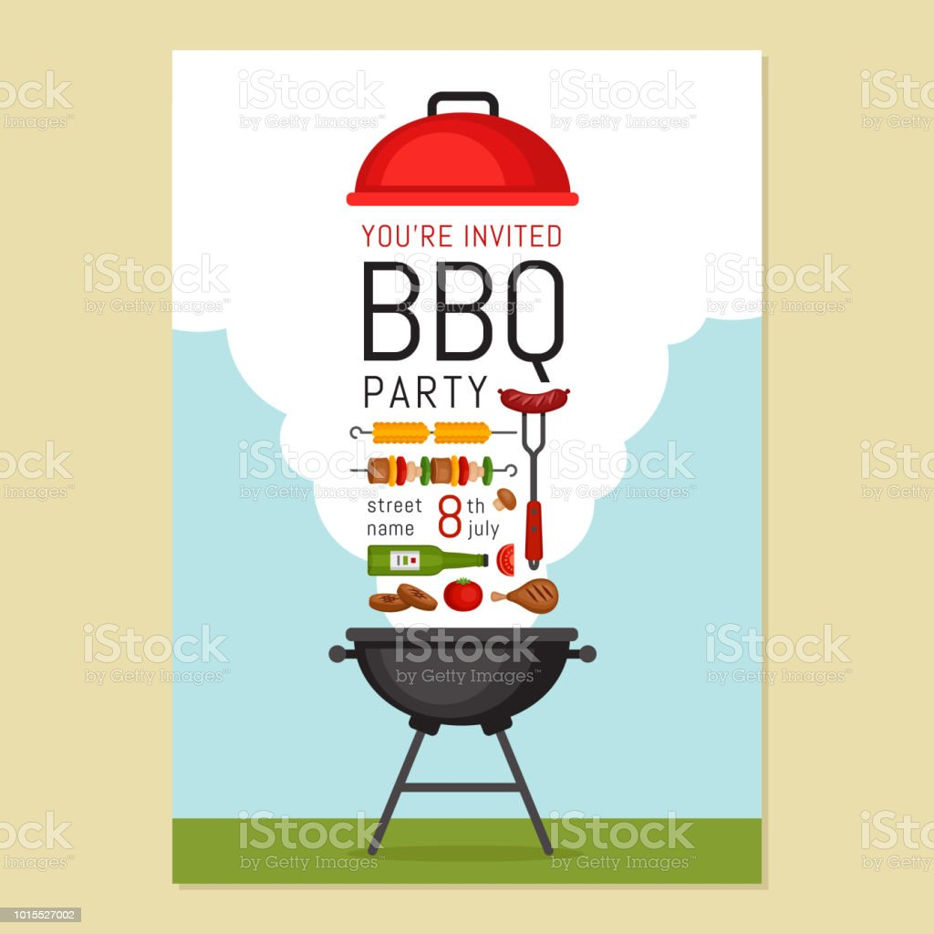 bbq party invitation with grill and food barbecue poster food flyer