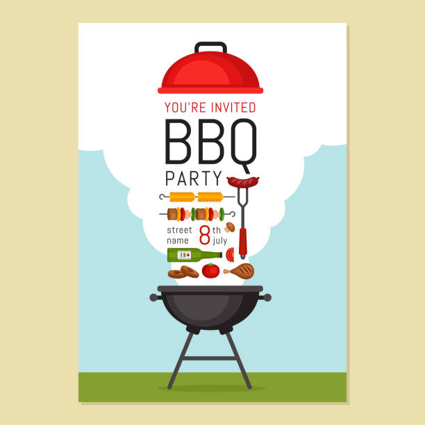 Bbq party invitation with grill and food. Barbecue poster. Food flyer. Flat style, vector illustration. vector art illustration