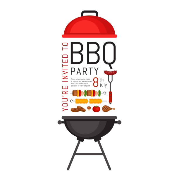illustrations, cliparts, dessins animés et icônes de invitation à bbq grill et de nourriture. affiche de barbecue. dépliant de la nourriture. appartement de style, vector illustration. - barbecue