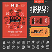 Bbq Party Invitation Poster, Flyer and Ticket with Thin Line Icon Set on a Black. Vector illustration of Barbecue