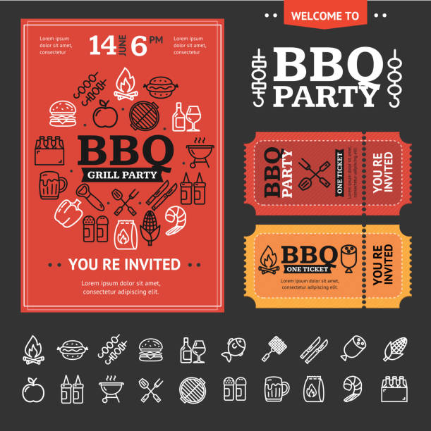 illustrations, cliparts, dessins animés et icônes de invitation bbq party avec thin line icon set. vector - barbecue