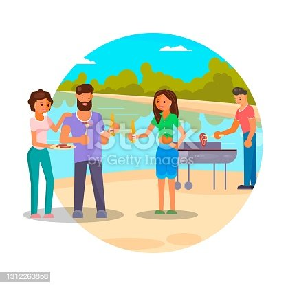 istock Bbq party with friends, flat vector illustration. People cooking meat, sausages on grill, drinking beer and having fun. 1312263858