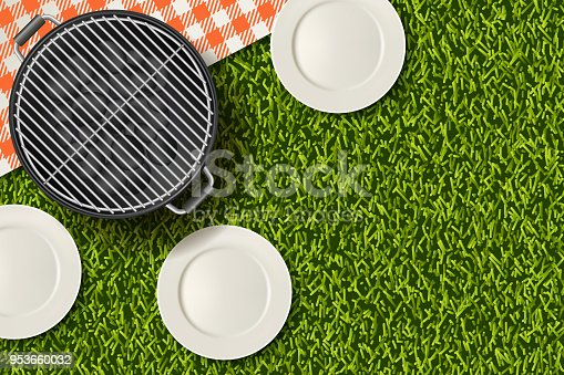 Bbq picnic in park, banner or poster design template. Vector realistic 3d illustration of barbecue grill, white plate, gingham red plaid on green grass lawn. Summer background.