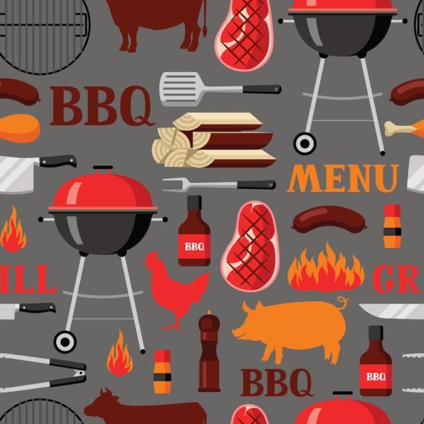 nahtlose muster bbq grill objekte und symbole - roastbeef stock-grafiken, -clipart, -cartoons und -symbole