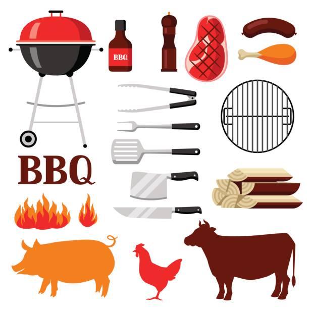 bbq-set grill objekte und symbole - schweinebraten stock-grafiken, -clipart, -cartoons und -symbole