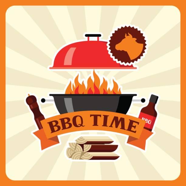 bbq-zeitkarte mit grill objekte und symbole - roastbeef stock-grafiken, -clipart, -cartoons und -symbole