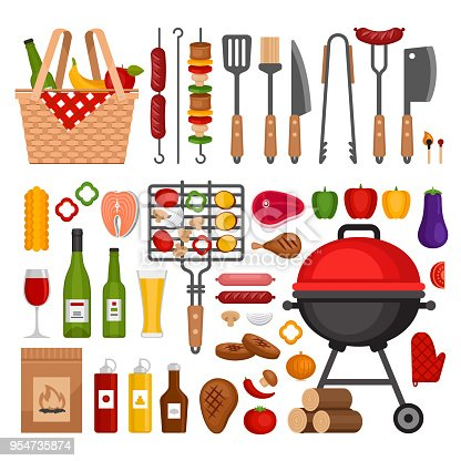Bbq tools set. Barbecue grill  isolated elements. Flat style, vector illustration.