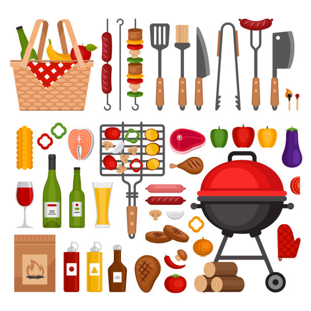 illustrations, cliparts, dessins animés et icônes de coffret outils de barbecue. barbecue grill éléments isolés. appartement de style, vector illustration. - barbecue