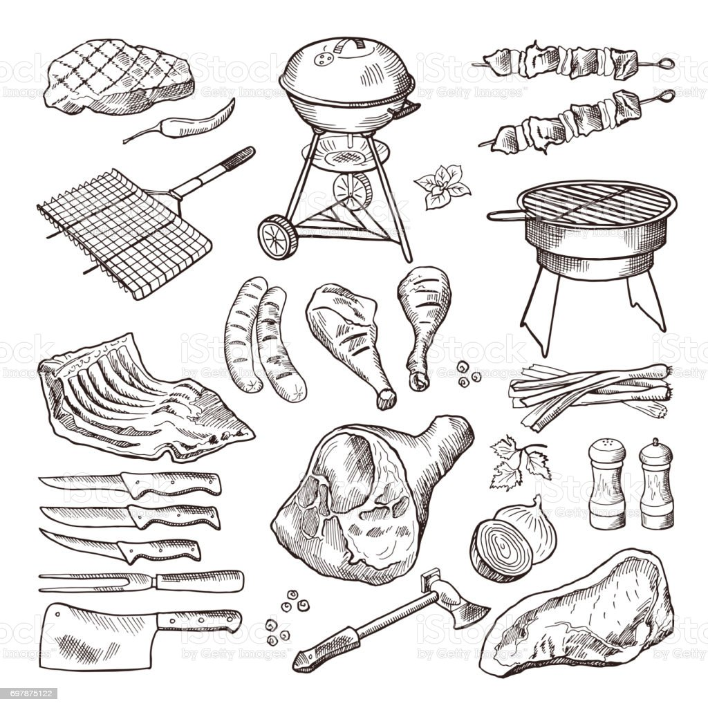 Bbq vector hand drawn illustration set. Grilled meat and other accessories for barbecue party vector art illustration