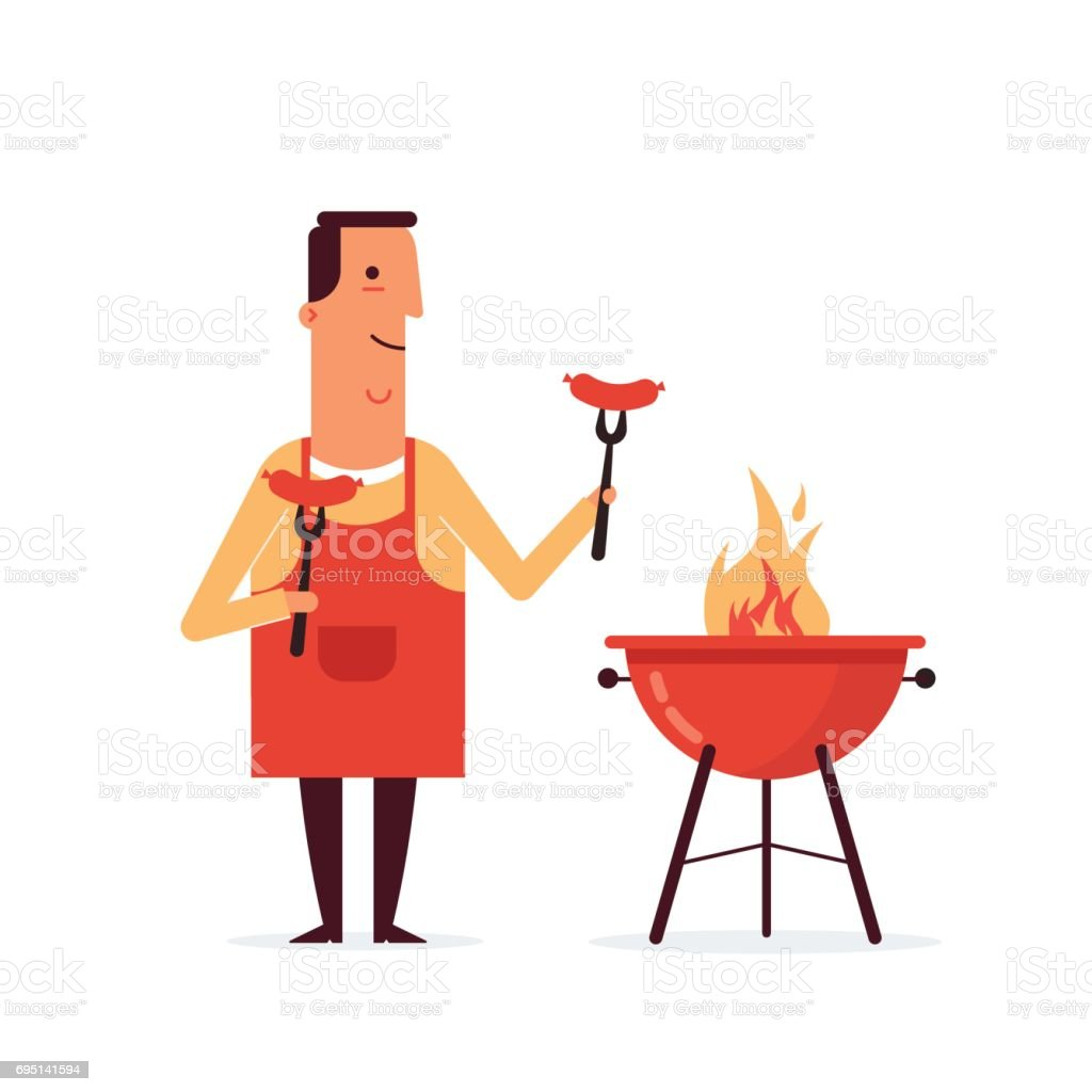 BBQ-party copy vector art illustration