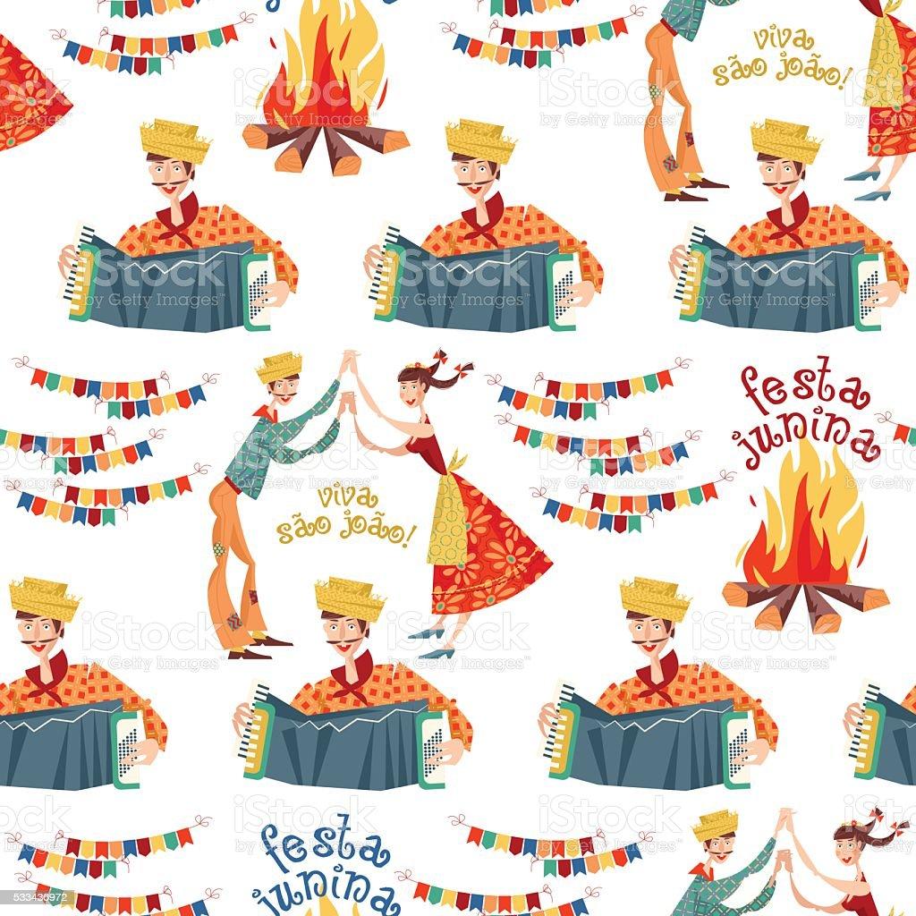 BBrazilian holiday Festa Junina (the June party). Seamless background pattern. vector art illustration