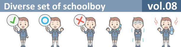 stockillustraties, clipart, cartoons en iconen met b-chi004-08 - schooluniform