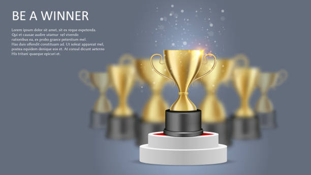 stockillustraties, clipart, cartoons en iconen met een winner poster web banner template, vector illustratie - kampioenschap