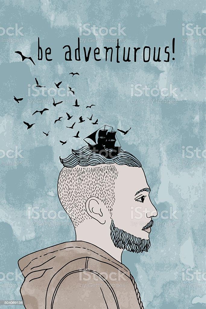 'be adventurous!' vector art illustration