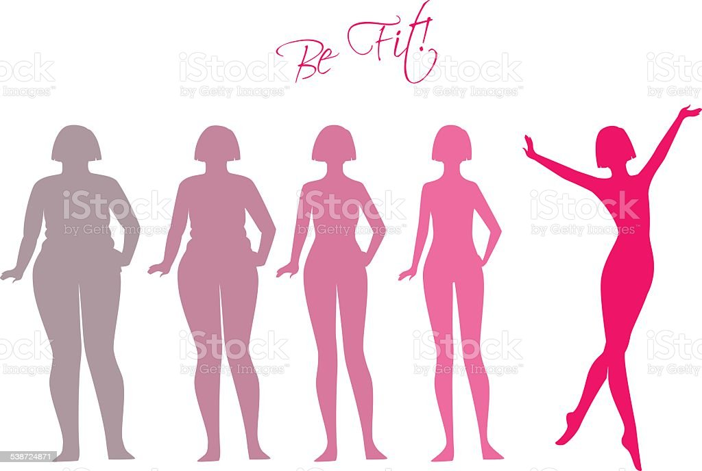 Be fit, woman silhouette images vector art illustration