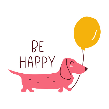 Be happy. Dachshund with air balloon. Birthday concept.