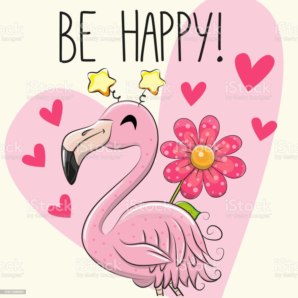 Werden Sie glücklich Grußkarte mit Cartoon Flamingo – Vektorgrafik