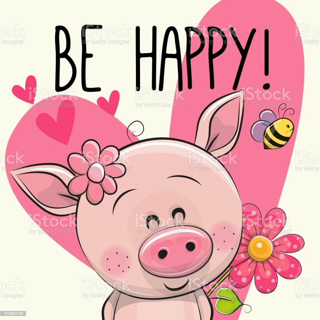 Werden Sie glücklich Grußkarte mit Schwein – Vektorgrafik