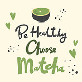 Be Healthy Choose Matcha. Flat vector illustration Matcha iced latte on black background with hand drawn calligraphy lettering. Good for cafe, restaurant menu, merch, advertisement, poster, card