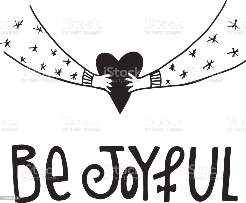 be joyful hand drawn christmas lettering with xmas decoration cute new year clip art