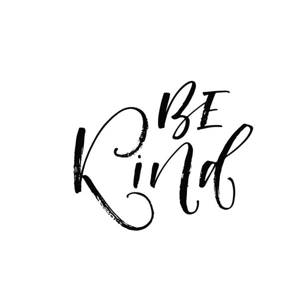 Be kind card. Be kind postcard. Hand drawn positive lettering. Ink illustration. Modern brush calligraphy. Isolated on white background. affectionate stock illustrations