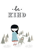 Be kind - Cute nursery poster with girl and monster. Vector illustration in scandinavian style.