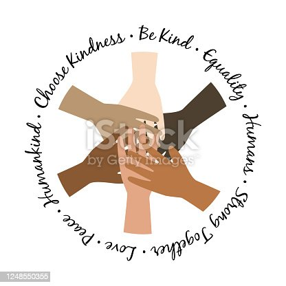Be kind unity hands symbol. protest Illustration with hands equality symbol. Humankind concept.