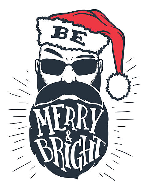 be merry and bright hand lettering - old man funny pictures stock illustrations