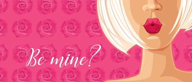 Be mine. Valentine's Card. vector art illustration