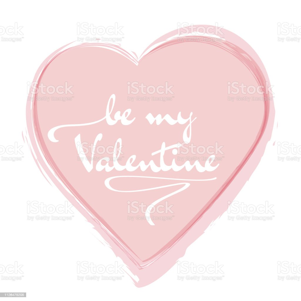 Be my Valentine celebration card design. Red heart with calligraphic text.