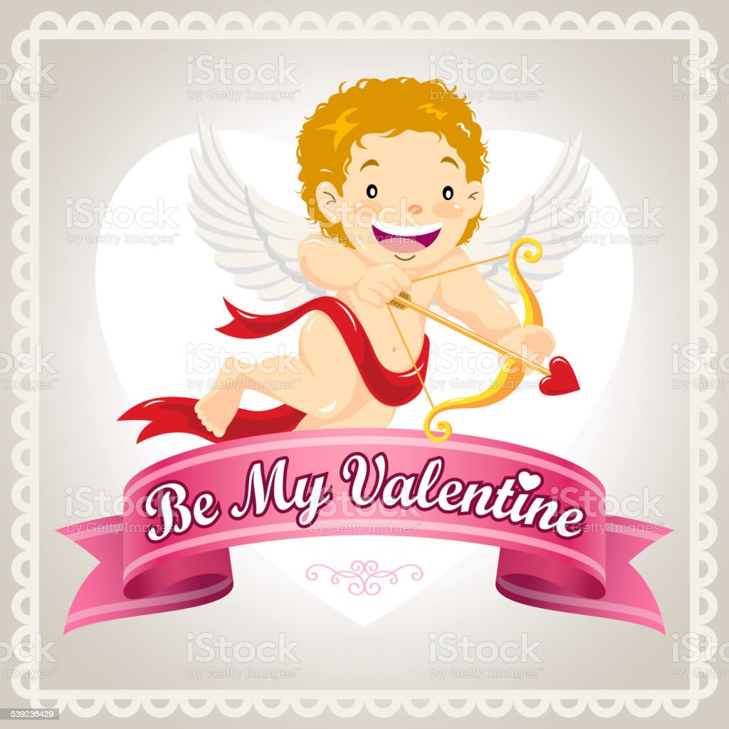 Be My Valentine Cupid Card royalty-free be my valentine cupid card stock vector art & more images of angel