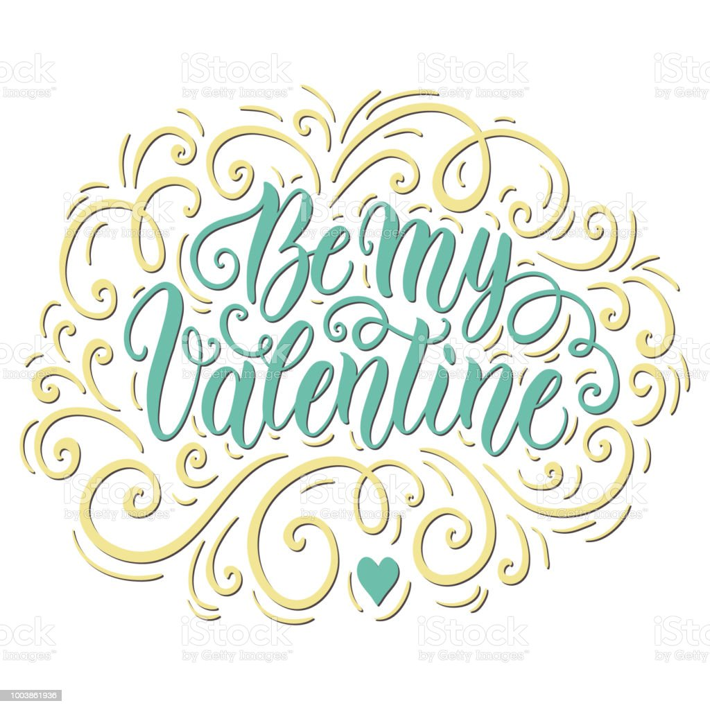 Be my valentine doodle hand lettering background greeting card be my valentine doodle hand lettering background greeting card design template can be used m4hsunfo