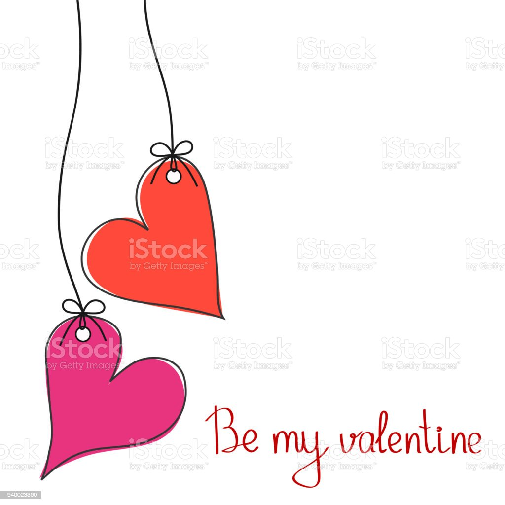 Be My Valentine Greeting Card For St Valentines Day With Two Hanging