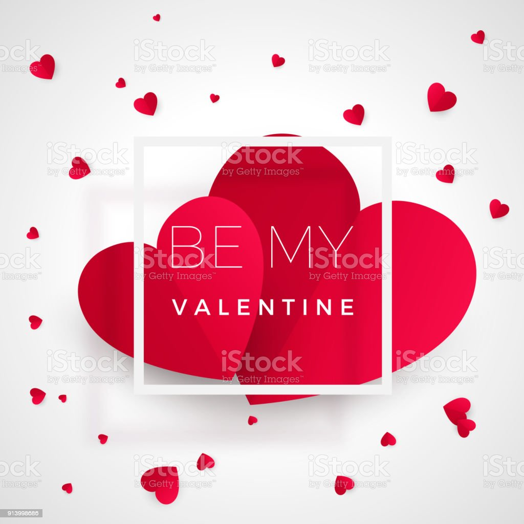 Be My Valentine Greeting Card Red Hearts With Text Heart Symbol Of