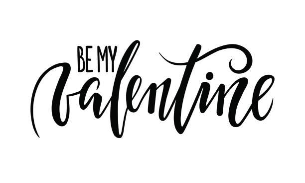 ilustraciones, imágenes clip art, dibujos animados e iconos de stock de ser mi san valentín. mano dibuja letras de lápiz caligrafía y pincel creativo - tipos de letra de tatuajes