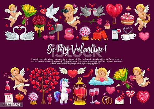 Valentine Day love holiday, cupid angles with hearts, flowers and balloons. Vector Be my Valentine quote calligraphy, roses flowers, love potion and wedding diamond ring, marriage gifts and cake