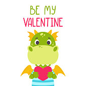 Be my Valentine postcard with dragon. 14 february card. Festive toothy smiling green funny dinosaur with wings and heart. Scandinavian style. Nursery print. Vector illustration for printing postcard.