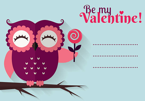 Royalty Free Purple Owl With A Heart Valentines Day Card Clip Art