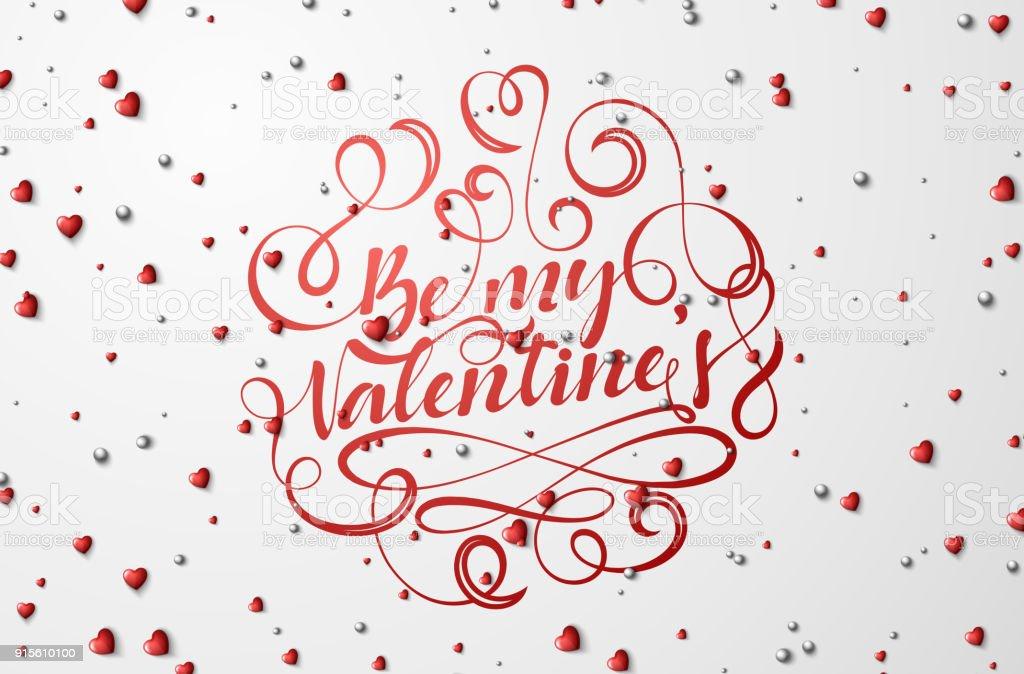 Ilustración De Ser Mi Día De San Valentín De Letras Para Tarjetas De Felicitación Y Más Vectores Libres De Derechos De Ahorros
