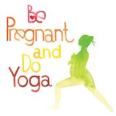 Be pregnant and do yoga. Watercolor. All object made in vector. Each one is separately.