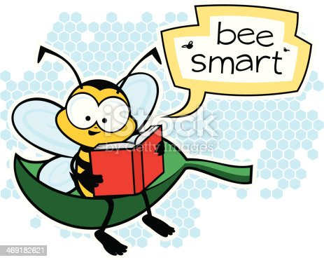 Be smart, cute bee reading a book.