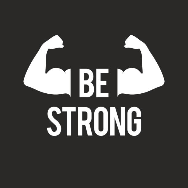Be strong, muscular arms vector art illustration