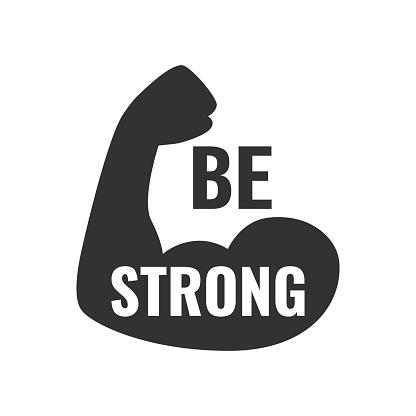 Be strong poster. Vector typographic quote for rock festival or concert design. Can be printed on T-shirts, bags, posters, invitations, cards, etc.
