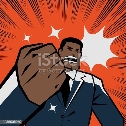 Manga style characters vector art illustration. Be the change you want to see in the world! African-american ethnicity businessman gesturing fist and shouting, retro macho.