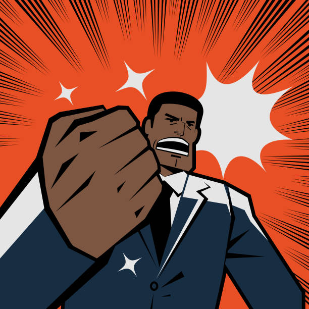 Be the change you want to see in the world! African-american ethnicity businessman gesturing fist and shouting, retro macho vector art illustration