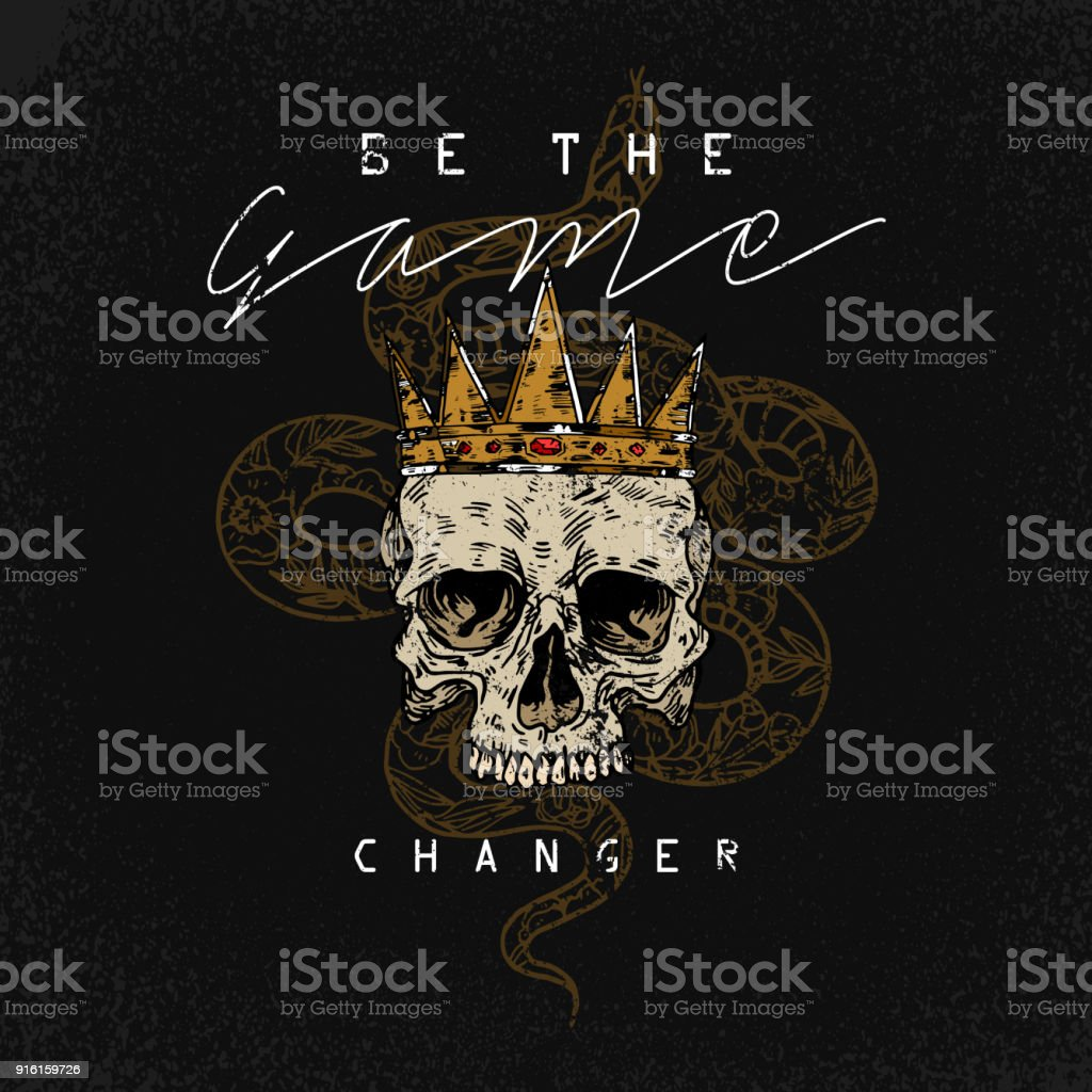 Be the game changer slogan. Snake with skull.Rock and roll girl patch. Typography graphic print, fashion drawing for t-shirts .Vector stickers,print, patches vintage vector art illustration